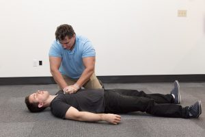CPR class victim and rescuer